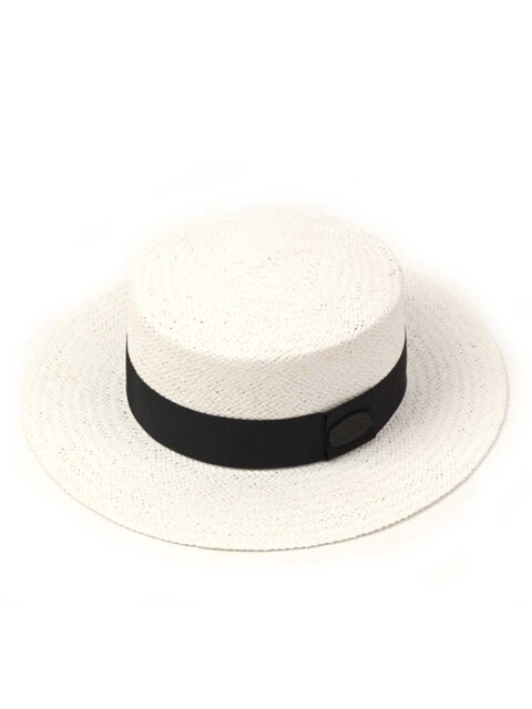 Black Metal White Flat Panama Hat 파나마햇