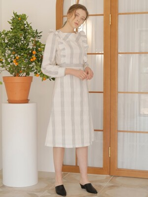 CHECK FRILL ONE-PIECE_WHITE