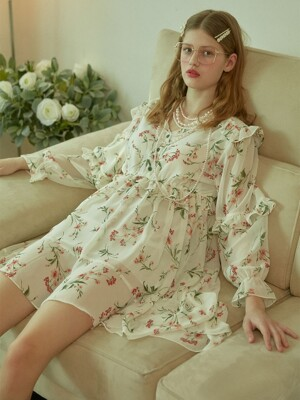 Printed Floral Frilly Chiffon Unbalanced Dress