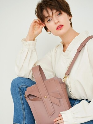 Bow bag_Taupe pink