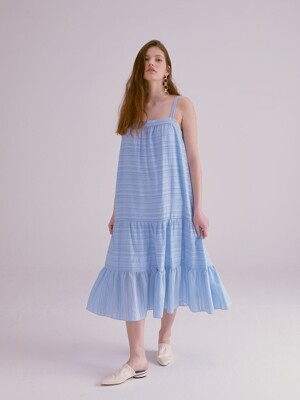 STRIPE TIERED LONG SLIP DRESS_SKY BLUE