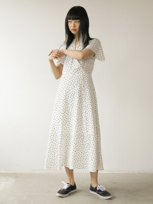 19SS DOT PRINT LONG DRESS /IVORY