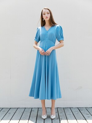 FLORIA V-neck shirred short sleeve button down flared dress (Calm Blue)