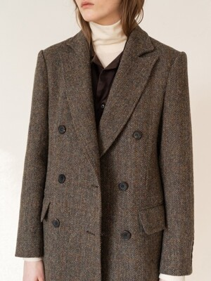 FW19 Harris tweed double breasted coat brown