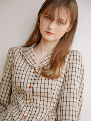 French Check Dress_Beige