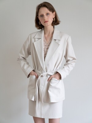 19FW BELTED COTTON JACKET (IVORY)