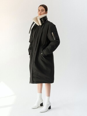 19FW SHEARING-COLLAR LONG DOWN JACKET (BLACK)