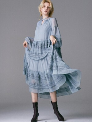SMOKING POINT ALL SHIRRING DRESS_BLUE GREY