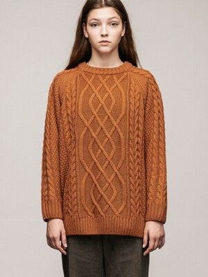 BASIC CABLE KNIT(BROWN)