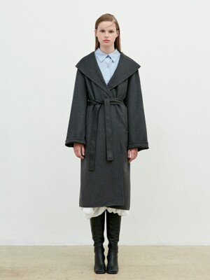 Hand Made Over Collar Robe Coat [Charcoal grey]