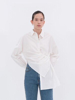 STRING SHIRRING UNBALANCE SHIRT WHITE