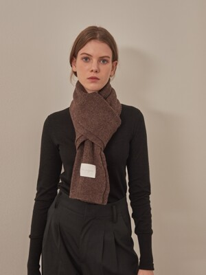 WOOL KNIT MUFFLER [BROWN]