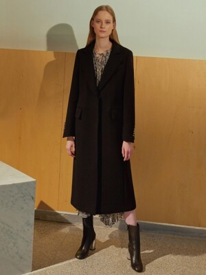 (BELLE) CASHMERE BUTTON DEATIL BLACK COAT