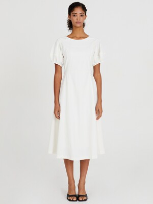 20SS PUFF SLEEVE FLARE DRESS - WHITE