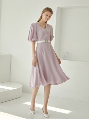 KAYLA / PUFF SLEEVE BELTED DRESS