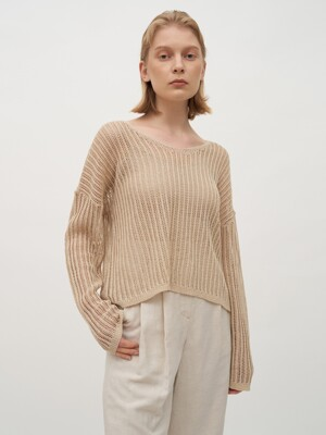 TTR LINEN NETTING LOOSE FIT KNIT TOP 2COLOR