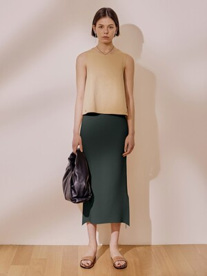 Arch Long Skirt_Forest Green