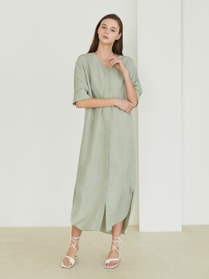 Back slit V-neck dress_Grey mint