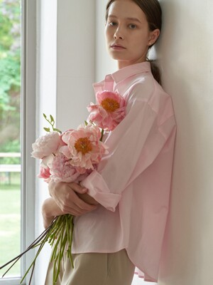 Plain cotton shirt - Baby pink