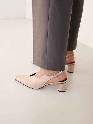 [at SALONDEJU] Wave Slingback - Nude Beige