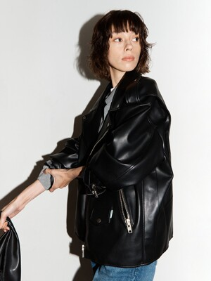 [EXCLUSIVE]  Faux-Leather Biker Jacket
