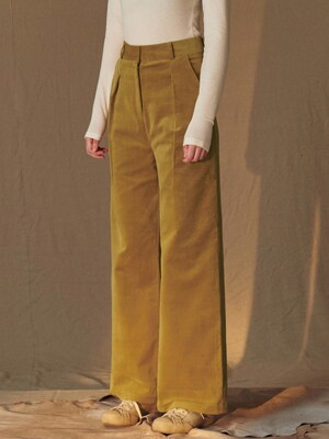 SI PT 7019 Slip down Corduroy Pants_Curry beige