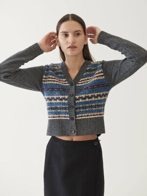 FAIR ISLE BRUSH CARDIGAN (grey)