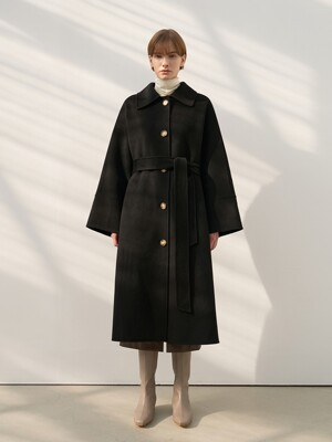 CASHMERE SINGLE COAT [HAND MADE] BLACK