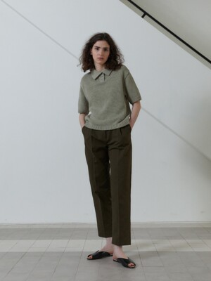 21S TAPERED VOLUME COTTON PANTS (MOSSY GREEN)