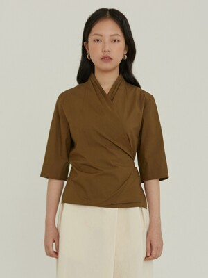 wrap tuck shirt _ khaki brown