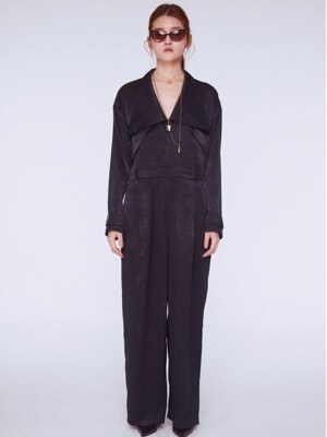 Back Slit Jump Suit [BLACK]