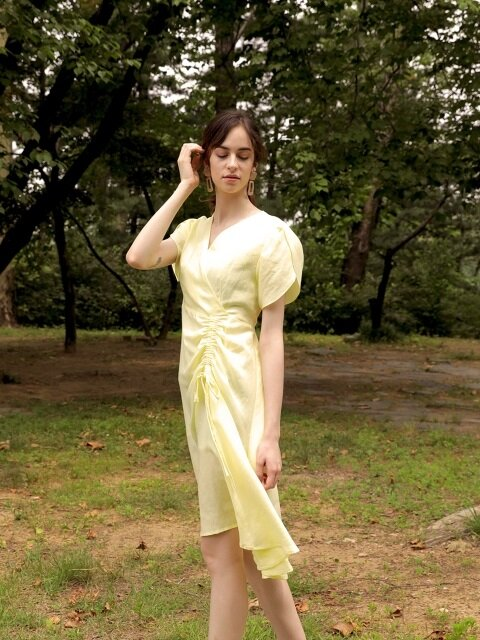 Tulip Shirring Baby Lemon Dress