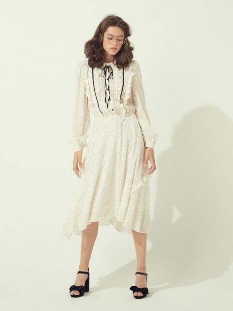 JACQUARD RUFFLE DRESS - IVORY