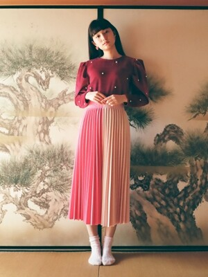 Color Combination Wool Pleat Skirt : Pink