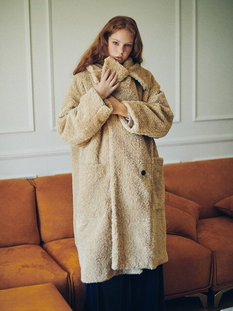 Shearling faux fur over collar coat