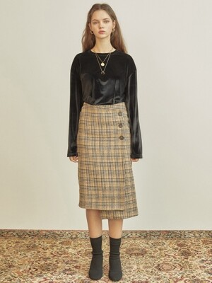 R BUTTON WRAP SKIRT_YE ?/S