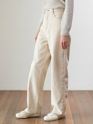 loose-fit straight pants (cream)