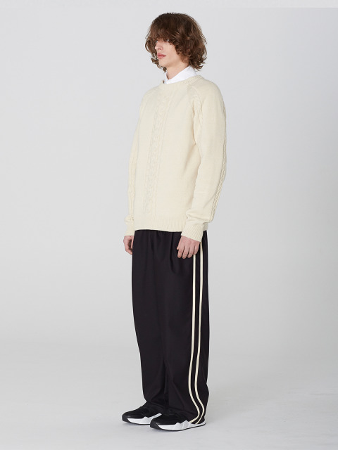 2 Line Wide Pants (BK)