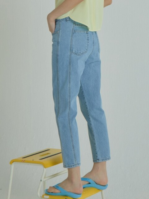 Side Blocking Denim Pants_Light Blue