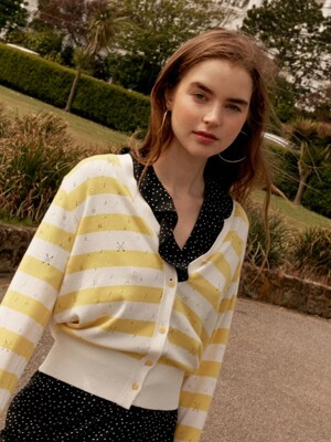 Pastel Stripe Knit Cardigan in Yellow_VK9MD0310