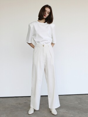 Linen straight pants_Ivory