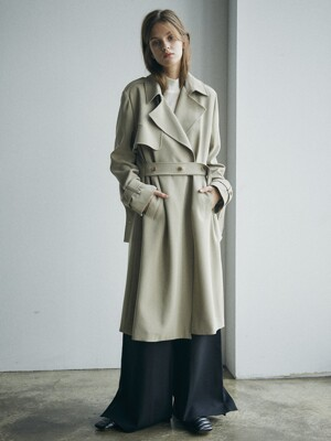 [Drama Signature] Belted Straight Trench_D.Beige
