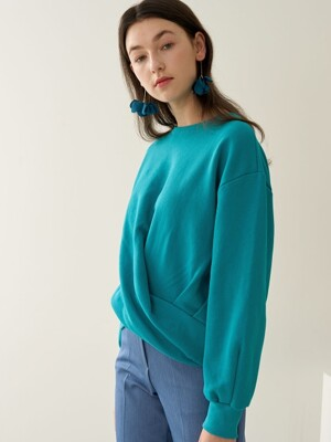 CURVED SWEATSHIRT AQUA