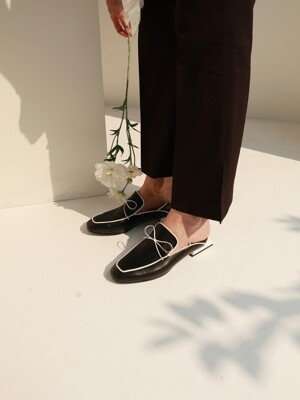 T102 lace loafer black (2-way) 2.5cm