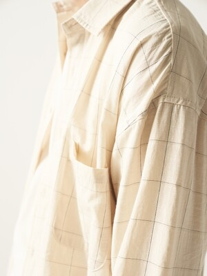 Windowpane Check Shirts Beige