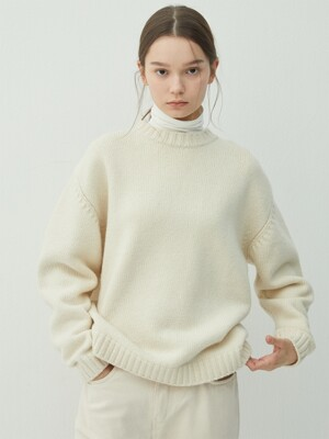 CREAM wool silk mock neck knit (KT006)