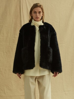 19FW FUR COAT - NAVY