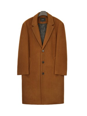 LOOSE FIT SINGLE WOOL COAT (GINGER BROWN)