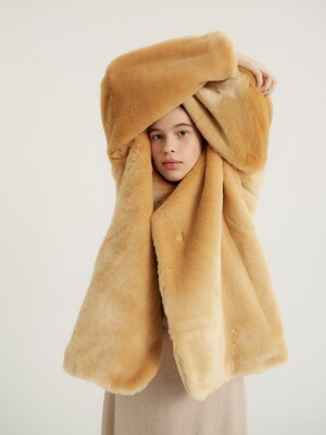 Furry half coat_Egg beige