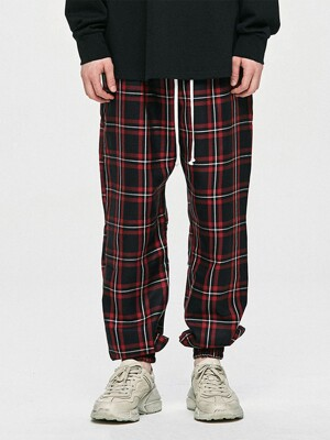 Check Jogger Pants - Red